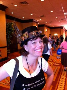 Rosemary modeling Steampunk fashion at FenCon in Dallas
