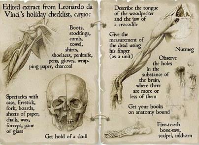 Da Vinci's packing list.